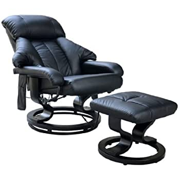 Homcom Luxury Fuax leather Chair Recliner Electric Massage Chair Sofa 10 Massager Heat with Foot Stool Black  sc 1 st  Amazon UK & Relaxateeze Milano Leather Effect Swivel Recliner Chair u0026 Foot ... islam-shia.org