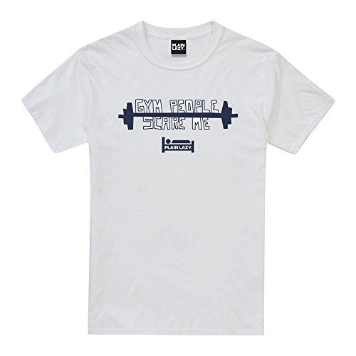 01d01143 Plain Lazy Gym People Scare, T-Shirt Uomo, Bianco (White Wht)