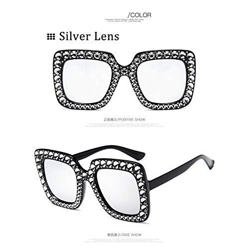 Taiyangcheng Luxury Shining Frame Sonnenbrille Frauen Strass Dekoration Sonnenbrille Square Shades,Silberne Linse