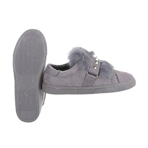 Sneakers Low Damenschuhe Sneakers Low Moderne Ital-Design Freizeitschuhe Grau