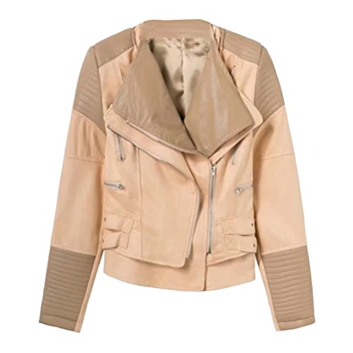 Zhhlinyuan Multiple Colour Womens Beiläufig Zipper Lapel Jacke Damen Elegant PU Leather Lab Coat for Ladies Winter Tops