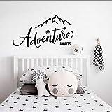 L'aventure commence Sticker mural, Voyage Montagne Wall Sticker Decal Aventure Chambre Home Decor 55 * 100Cm