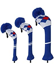 Blue Red Whtie Argyle Style Knit Golf Headcover, Set of 3 for Driver Wood(460cc) Fairway Wood and Hybrid/UT