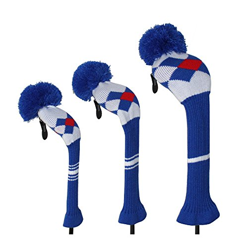 BLUE RED WHTIE ARGYLE STYLE KNIT GOLF HEADCOVER  SET OF 3 FOR DRIVER WOOD(460CC) FAIRWAY WOOD AND HYBRID/UT