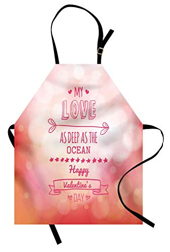 Valentinstag-Schürze, rosa Farbe meine Liebe tief als das Meer romantisch für sie mit Stern-Herzpfeil, Unisex-Küchenschürze mit verstellbarem Hals zum Kochen Backen Gartenarbeit, rosa Koralle - Meine Rosa Schürze