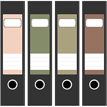 4 x farbige Design Akten-Ordner Etiketten//Aufkleber//R/ücken Sticker//Farben im Mix Vintage Dunkel Edel//f/ür breite Ordner//selbstklebend 6cm breit