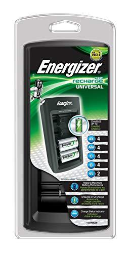 Energizer Universal Rundzellen-Ladegerät NiMH Micro (AAA), Mignon (AA), Baby (C), Mono (D), 9V Bloc (Energizer 9v Akku-ladegerät)