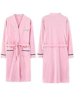 OHlive- Par de Moda otoño Invierno Manga Larga algodón Albornoz Pijamas Albornoz Hombre (Color : Pink, tamaño...