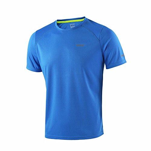 MaMaison007 ARSUXEO estate degli uomini camice Esecuzione T attivo Maniche corte Quick Dry Training Jersey Abbigliamento sportivo-Blue-M
