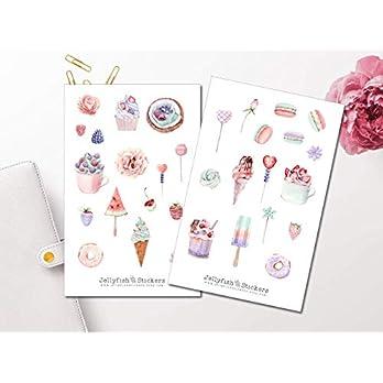 Süßigkeiten Pastell Sticker Set   Aufkleber   Journal Sticker   Planersticker   Sticker Essen   Sticker Kuchen   Eis…