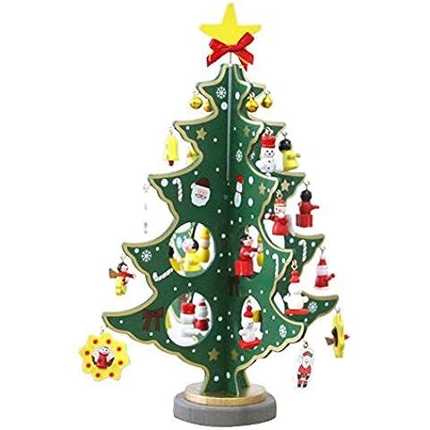 Legno Desktop Albero Mini-Natale, ornamenti decorazione di Natale(Green,S)
