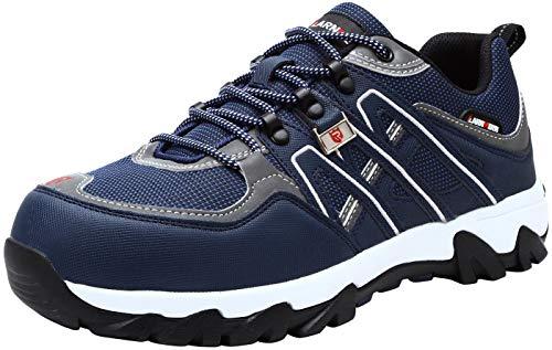 LARNMERN Sicherheitsschuhe Arbeitsschuhe Herren, Sicherheit Stahlkappe Stahlsohle Anti-Perforations Luftdurchlässige Schuhe (43 EU, Blau)