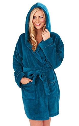 Vestaglia calda da donna, colore rosso corallo, in pile super morbido, con cappuccio Teal Blue L
