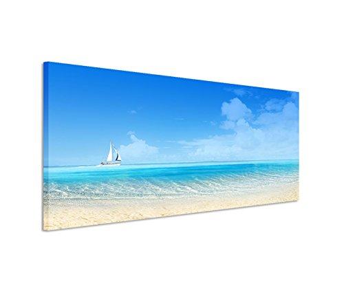 Stampa su tela, 150 x 50 cm, su telaio, soggetto: mare estivo con barca a vela
