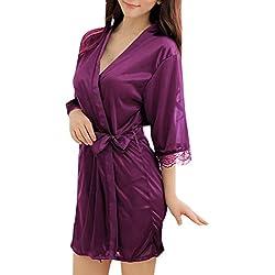 Sidiou Group Vestido Pijama Mujer Kimono Corto Bata de Satén Lencería Kimono del Cordón Satén Seda de Hielo Bata Albornoz Camisón (M, Estilo 1-Púrpura)
