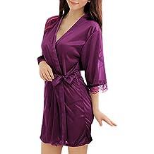 Sidiou Group Vestido Pijama Mujer Kimono Corto Bata de Satén Lencería Kimono del Cordón Satén Bata