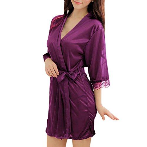 Sidiou Group Nacht Robe Damen Kimono Morgenmantel Satin Kimono Robe Kurz Bademantel Frauen Schlafanzug Nachtwäsche Satin Nachthemd (S, Style 1-Lila) - Kimono Kurze Roben Für Seide Frauen