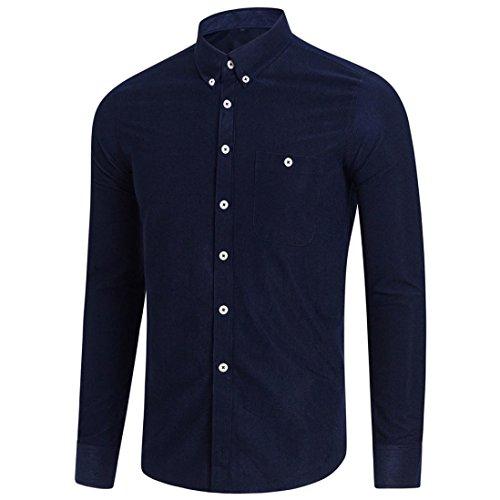 VEMOW Sommer Herbst Frühling Winter Männer Casual Langarm Plus Größe Täglichen Party Business Formal Occussion Solide Button Shirt Top Bluse(Marine, 50 DE/XL CN)