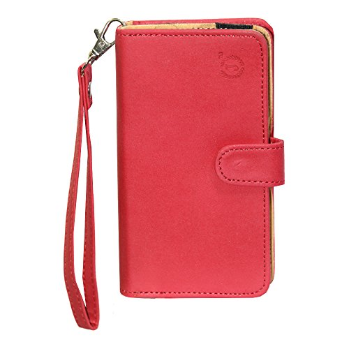 J Cover A9 Nillofer Leather Carry Case Cover Pouch Wallet Case For ZTE Blade S6 Lux Red