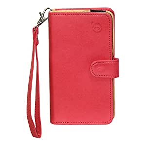 J Cover A9 Nillofer Leather Carry Case Cover Pouch Wallet Case For Lava Arc Grand RED