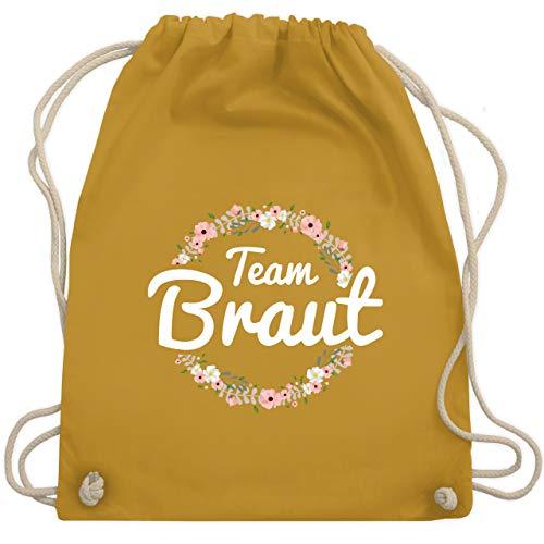 Kostüm Team Crew - JGA Junggesellinnenabschied - Team Braut Blumenkranz - Unisize - Senfgelb - WM110 - Turnbeutel & Gym Bag
