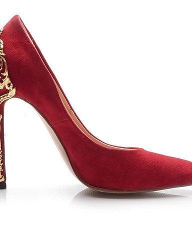 ShangYi Chaussures Femme - Mariage / Habillé / Soirée & Evénement - Noir / Rouge / Fuchsia - Talon Aiguille - Talons - Talons - Cuir / Daim Black