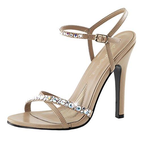 Sandalia De Color Imitación Mujer Beige beige Diamantes De qwpBttA