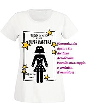 Sorrydenti t-Shirt Regalo maestra Insegnante Prof Fine Anno Scolastico Superhero Supereroe