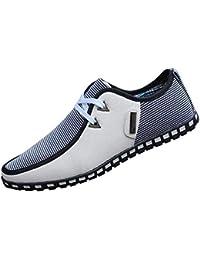 Tenthree Zapatos para Hombre Mocasines - con Cordones Náuticos Ligero Confortable Respirable Suela Blanda Cuero Casual