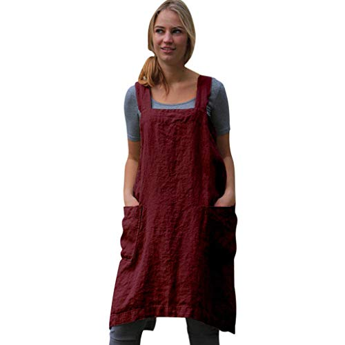 BaZhaHei Ladies Solid Apron Dress Cotton Linen Pinafore Garden Work Pinafore Dress for Women Sleeveless Loose Oversized Dress Shirt with Pockets Red