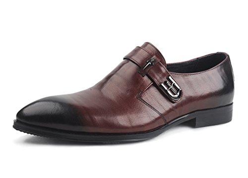 Leder-fahrer-schuhe (Dilize Herren 2016neu Design Leder Mönch Schuhe mit Schnalle, Braun - braun - Größe: 44 EU)