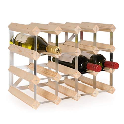 Weinregal/Flaschenregal System TREND, für 16 Fl, Holz Kiefer hellbraun gebeizt, komplett montiert, stapelbar/erweiterbar - H 32,4 x B 42 x T 22,8 cm