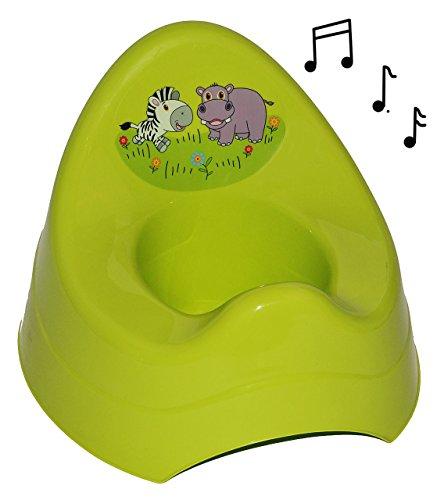 Unbekannt Töpfchen / Nachttopf - mit Musik / Sound - groß - mit großer Lehne + Spritzschutz - Zebra grün - Babytöpfchen / Kindertopf / Lerntöpfchen - Toilettentrainer K.. (Musik Töpfchen-training)