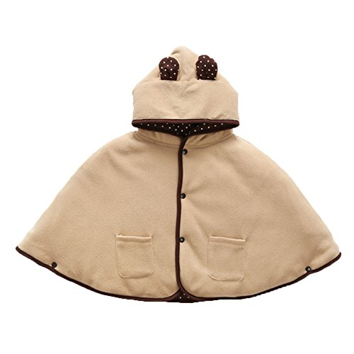 e Cape Umhang Herbst Winter Poncho Warm Mantel Kinder Mädchen Jungen 0-24 Monate (Brown, L(6-24 Monate)) ()