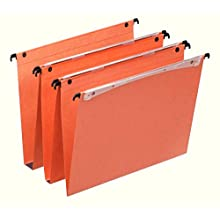 Esselte Dual Vertical Suspension Files, A4, 30mm Capacity, Pack of 25 Connectable Files, Tabs Included, Orange, Orgarex Range, 21633