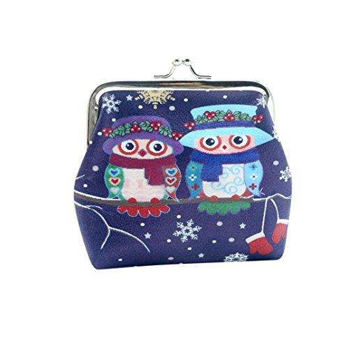 Internet Hibou Femmes Détenteur Portefeuille Card Porte-monnaie d'embrayage sac à main (Bleu)