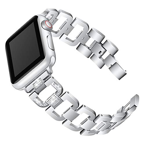 Bearbelly Armband kompatibel für Apple Watch Serie 4 44mm Edelstahl Diamant aushöhlen Armband Kettenuhr Ersatzband Armband Edelstahl Diamanten Armband für Apple Watch Serie 4 44mm -