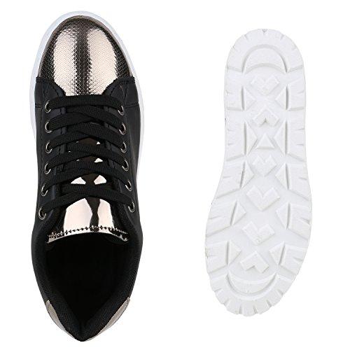 Damen Sneakers Plateau Keilabsatz Metallic Zipper Schuhe Schwarz Lack Plateau
