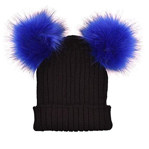BAGFP Herbst Und Winter Neue Frauen Gestrickte Wollmütze Double Hair Ball Cap Mode Kopfbedeckungen