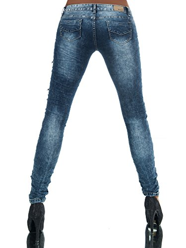 N586 Damen Jeans Hose Hüfthose Damenjeans Hüftjeans Röhrenjeans Röhrenhose Röhre Blau
