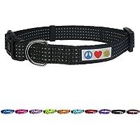 Pawtitas Collar ajustable para Cachorros y Perro Reflectante Mediano / Grande Negro