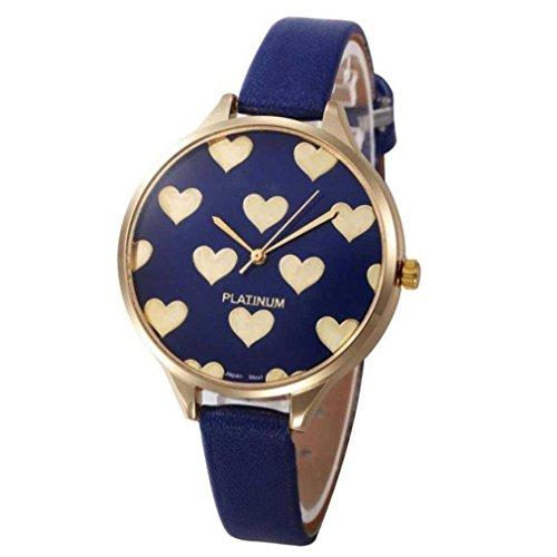 Fittingran orologio da polso analogico al quarzo analogico da donna in pelle sintetica orologio da polso in acciaio inossidabile al quarzo da ginevra (blu)