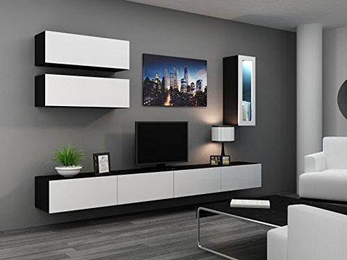 Wohnwand ' Vigo Full IV' Hochglanz Hängeschrank Lowboard Glasvitrine, Farbe:schwarz matt / weiß Hochglanz