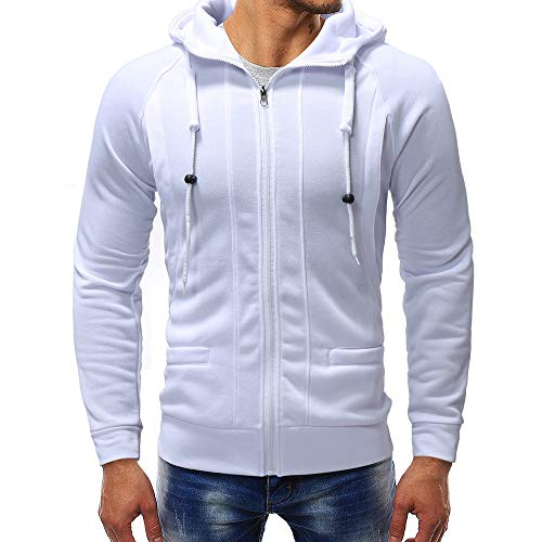 Riou Herren Langarm Hoodie Sweatshirt Slim fit Kapuzenpullover Sport T-Shirt Baumwoll Pullover Outwear Herren Langarm Herbst Winter Sweatshirt Hoodies Top Trainingsanzüge (XL, Weiß) - Baumwolle Winter Sweatshirt