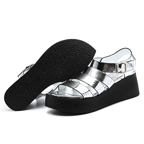 Sommer Moderne Damen Fischkopf Zehen Plateau Flach Sandalen Dicke Boden Lässige passen gut überall Keilabsatz Schuhe Silber