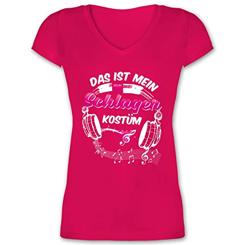 Karneval & Fasching - Das ist Mein Schlager Kostüm - XL - Fuchsia - XO1525 - Damen T-Shirt mit - Lustig Fett Kostüm