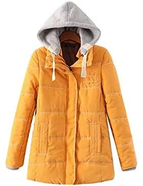 LvRao Cappotto imbottito trapuntato inverno per Donna Zip addensare Parka Manica lunga Giacche con cappuccio