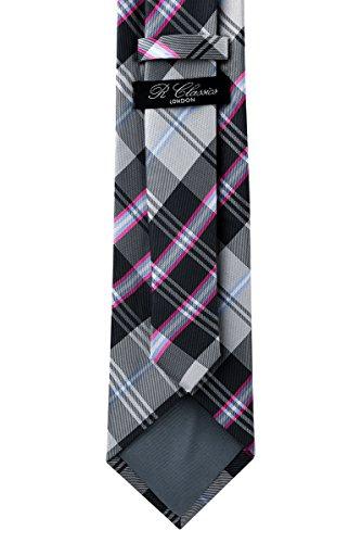 Retreez élégant Plaid tissé Carreaux 8cm de cravate en microfibre Gris