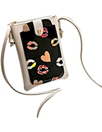 Women Lip Print Flap Bag Crossbody Bag Messenger Bag Shoulder Bag Phone Bag Coin Bag (Gray)