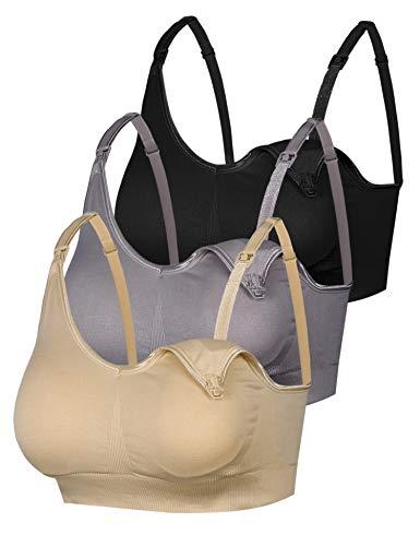 Aibrou Damen 3er Pack Still-BH Schwangerschaft Still BHS ohne Bügel Nahtlose Umstands BH Unterwäsche Maternity Schwarz& Grau& Hautfarbe L -